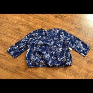 New Directions XL Petite Top Shirt Blouse NWT Blue